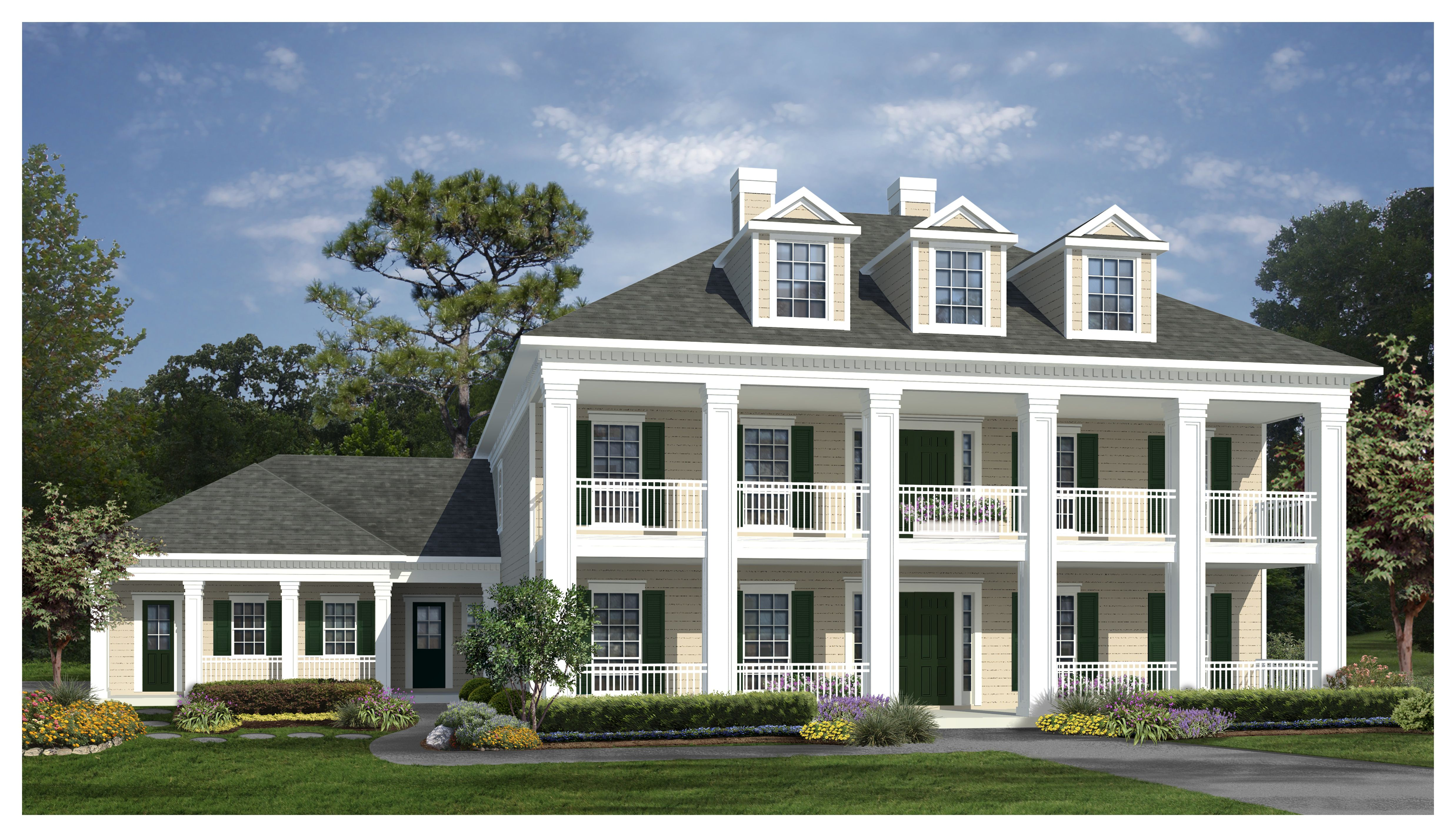 Sq ft house plan 4 bed 3 5 bath 2 5 story the for One story greek revival house plans
