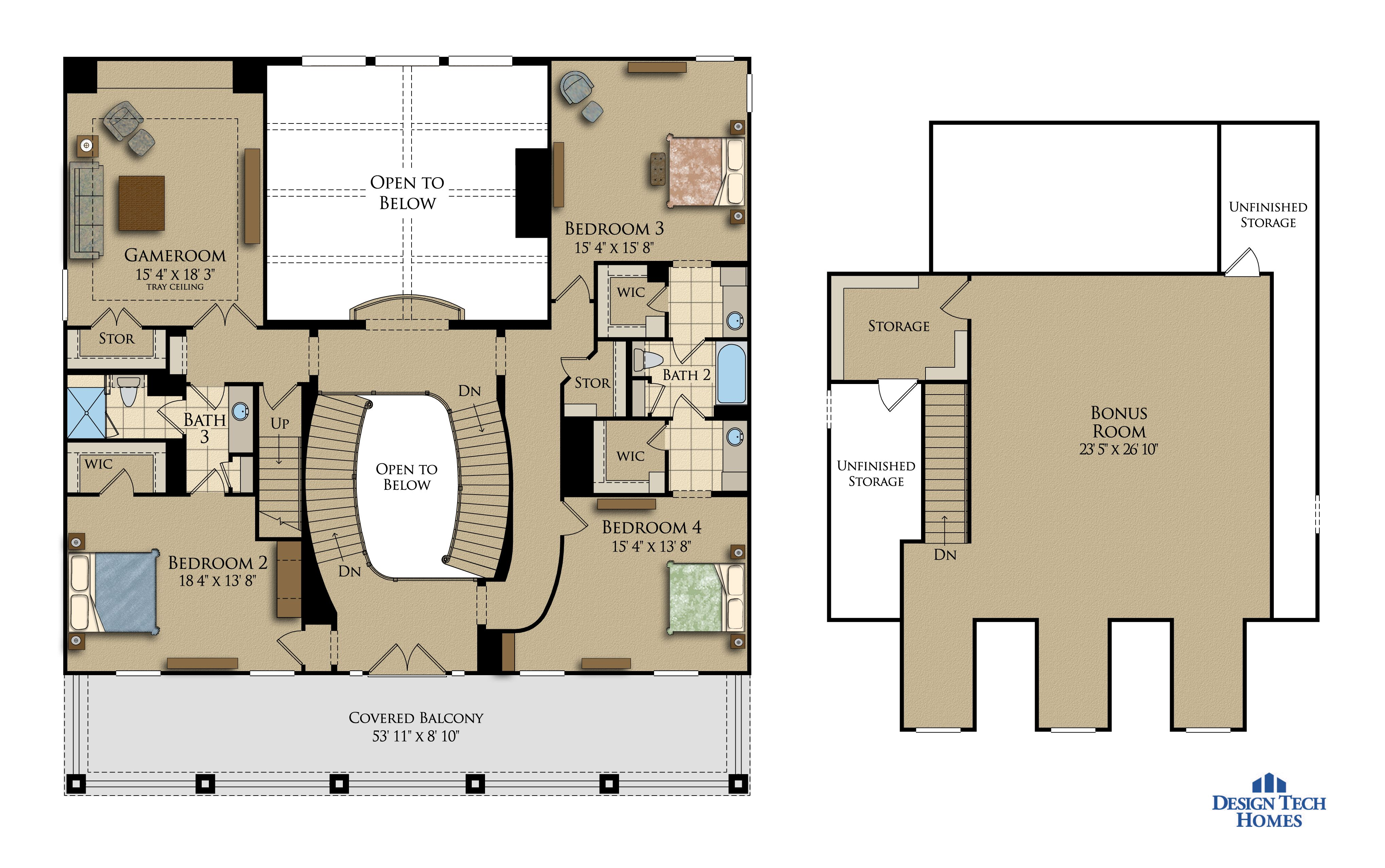 5.070 Sq Ft House Plan - 4 Bed 3.5 Bath, 2.5 Story - The Alexandria ...