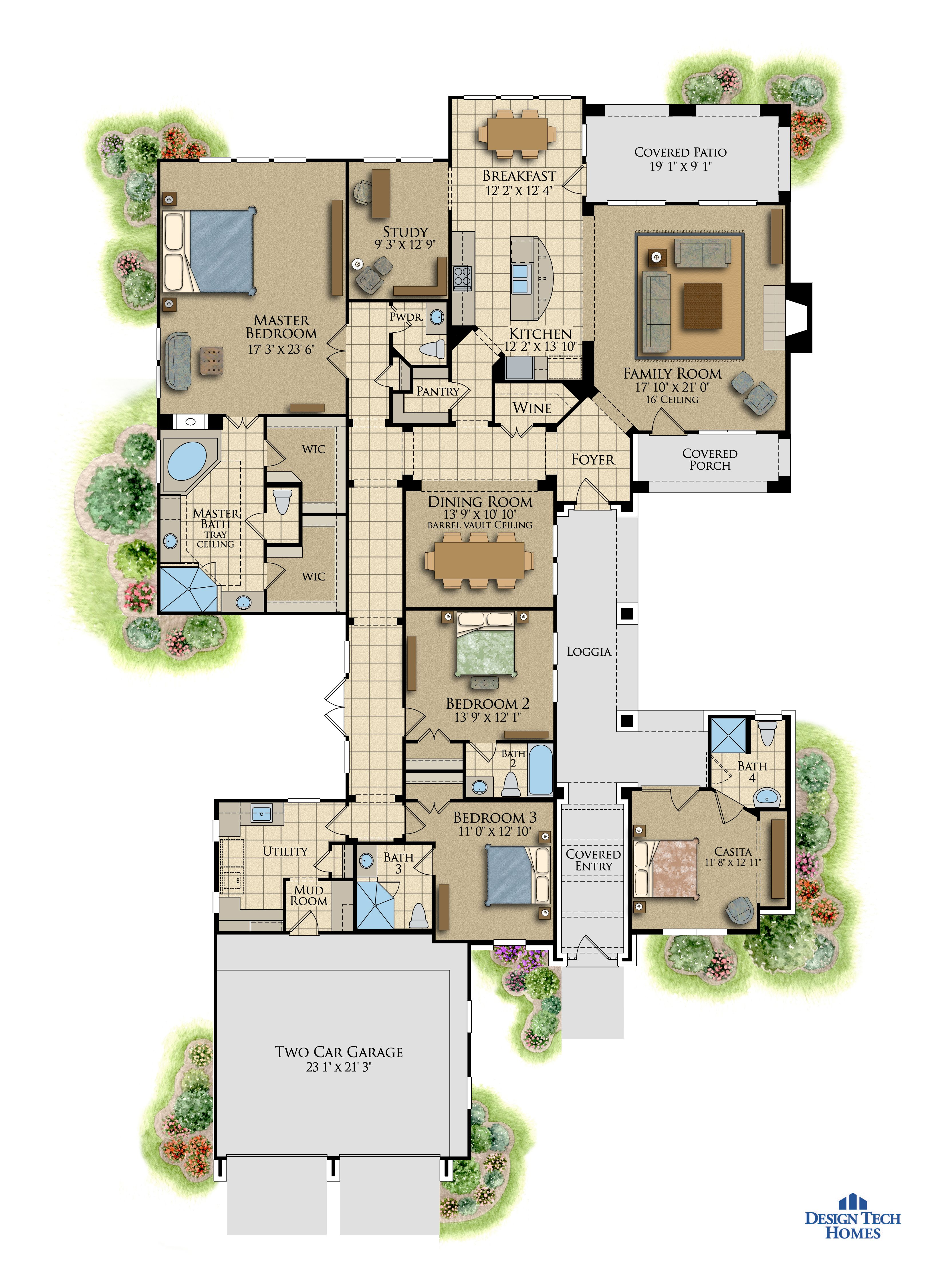 3,240 Sq Ft House Plan - 3 Bed 4.5 Bath, 1 Story - The Casa Lana ...