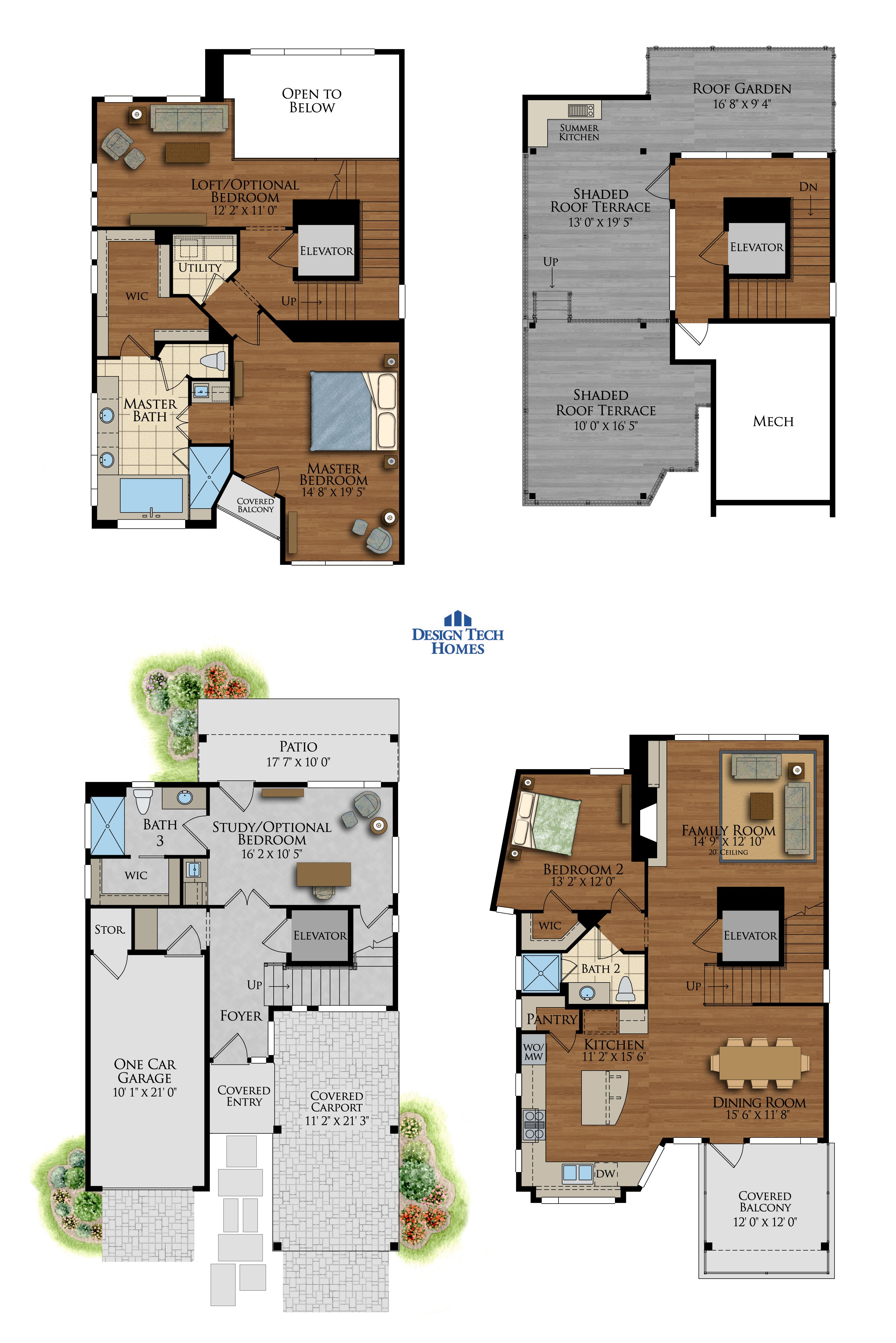2,553 Sq Ft House Plan - 3 Bed 3 Bath, 4 Story - The Midtown ...