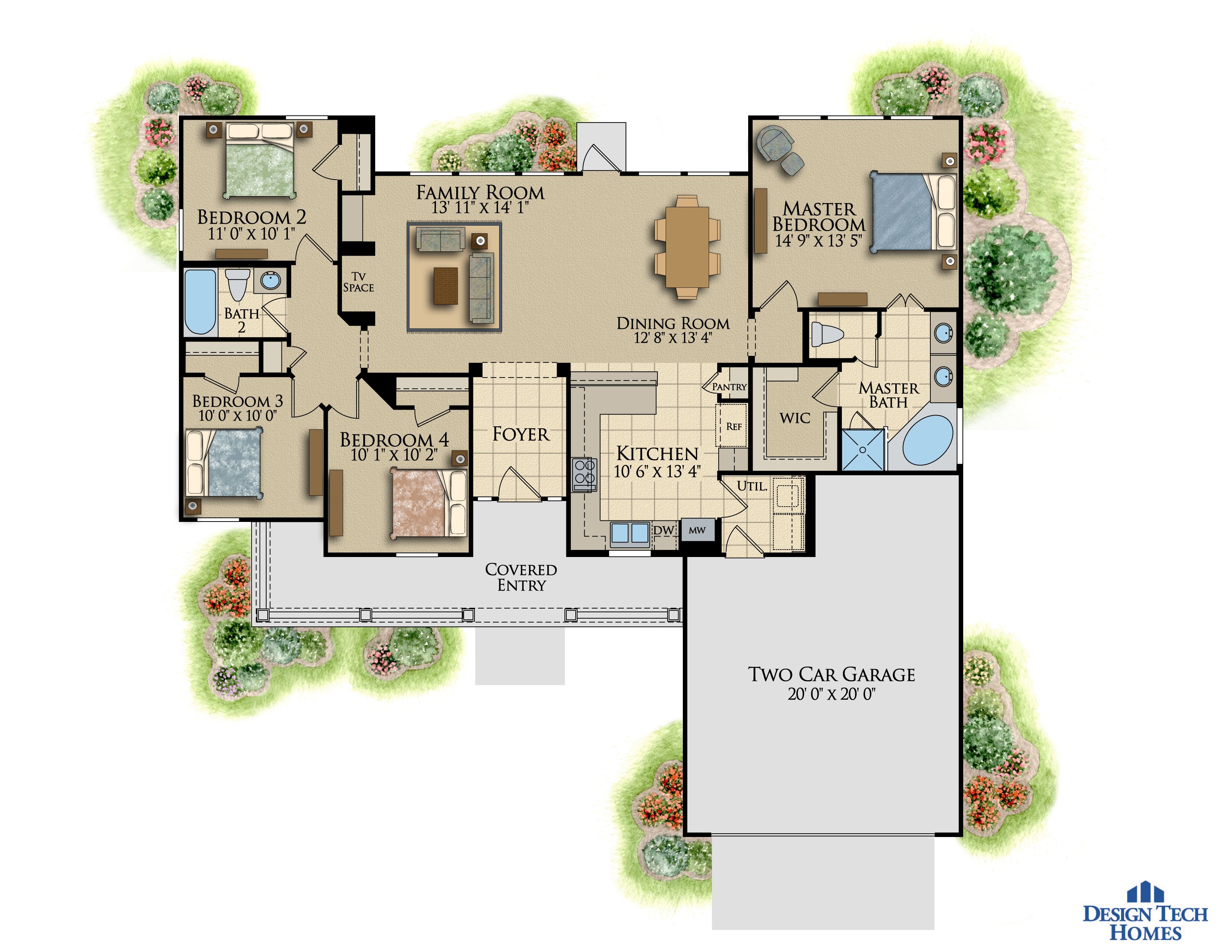 1,534 Sq Ft House Plan - 4 Bed 2 Bath, 1 Story - The Somersby ...