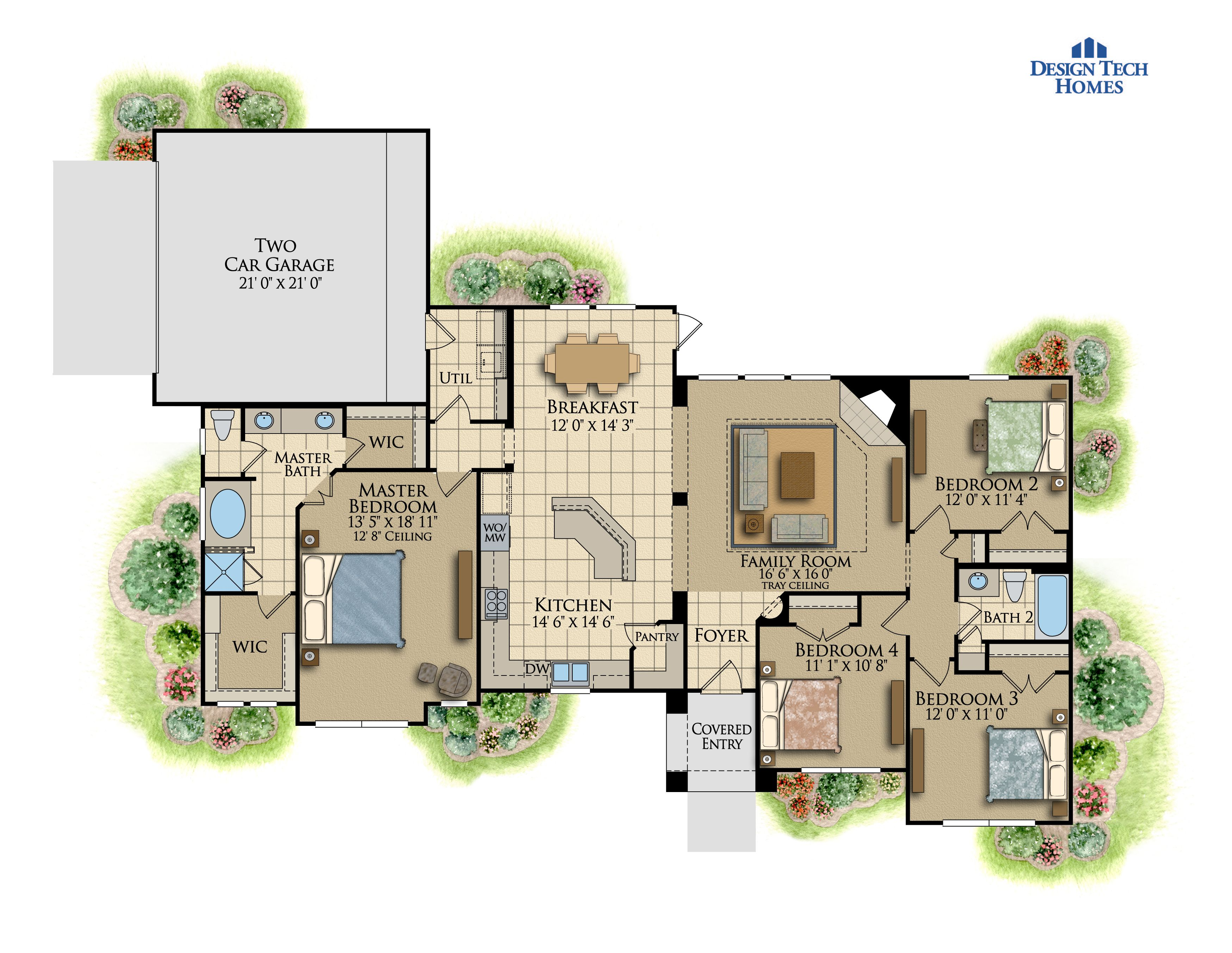 1,863 Sq Ft House Plan - 4 bed 2 Bath, 1 Story - The Valencia ...