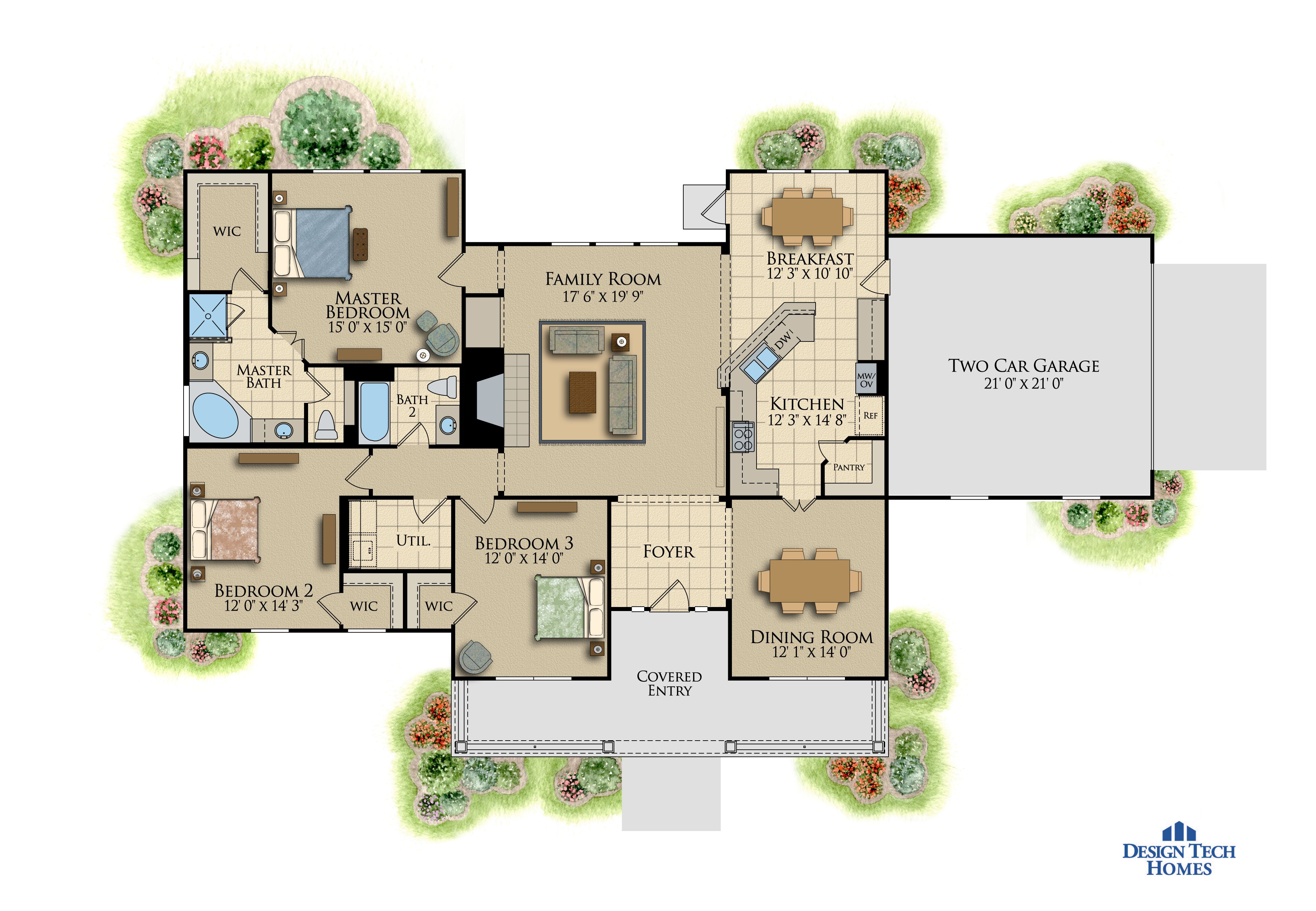 1,999 Sq Ft House Plan - 3 Bed 2 Bath, 1 Story - The Wedgewood ...