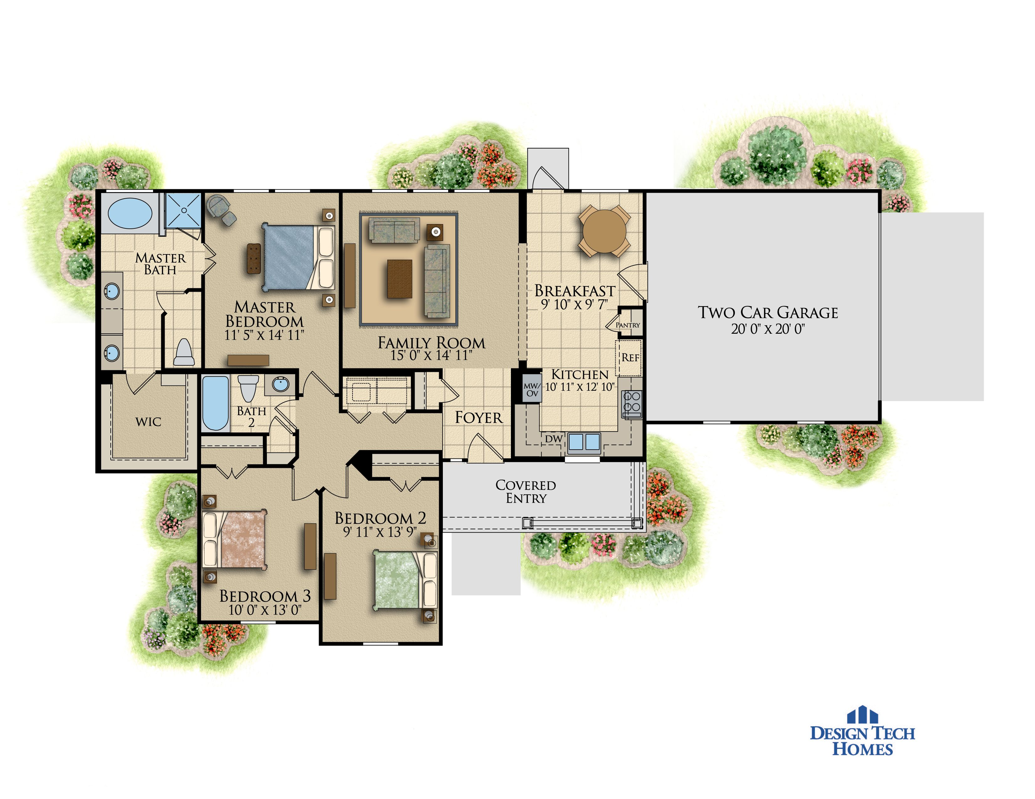 1,401 Sq Ft House Plan - 3 Bed 2 Bath, 1 Story - The Willowbend ...