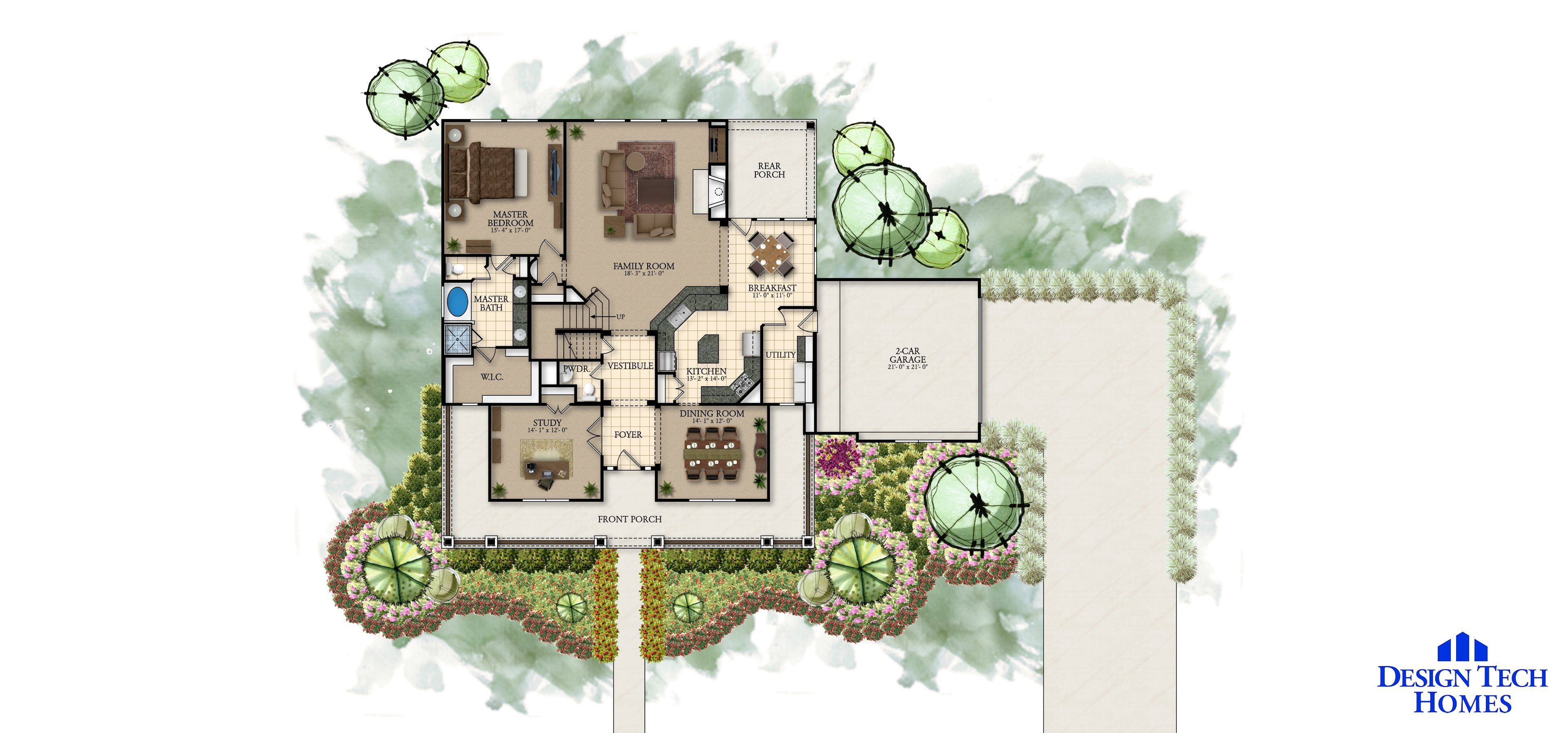 2,996 Sq Ft House Plan - 4 Bed 3.5 Bath, 2 Story - The Winslow ...