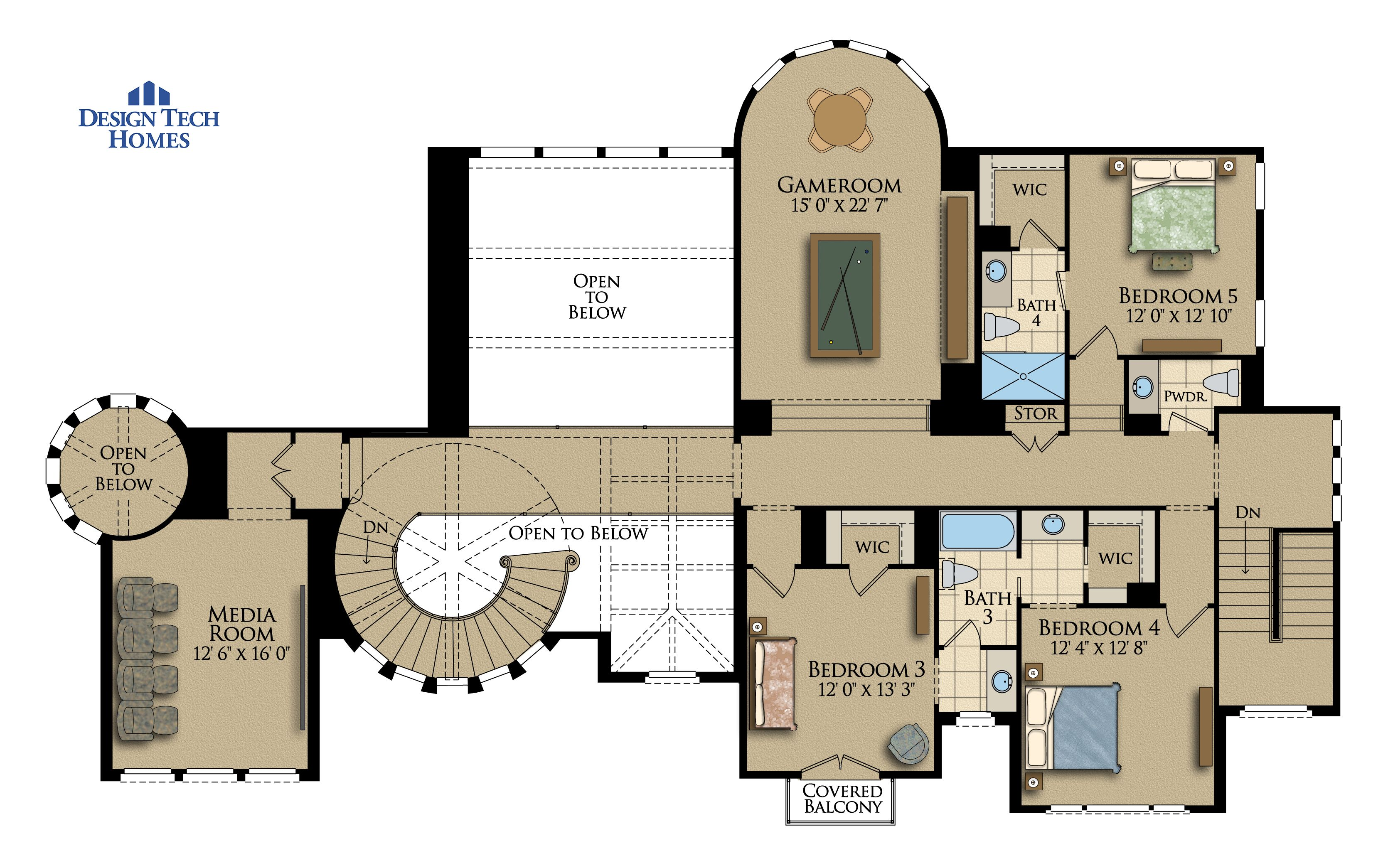 6,159 Sq Ft House Plan - 5 Bed 4 + 2 Half Bath, 2 Story - The Villa ...